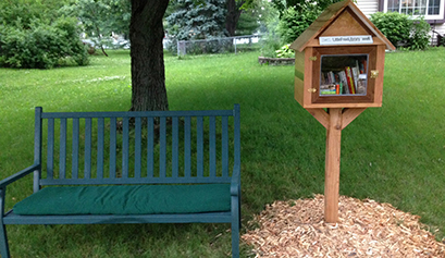 Little Free Library and bench