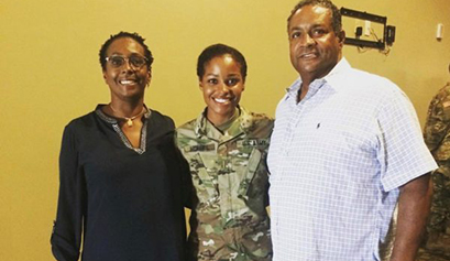 Gabrielle McNary with her parents
