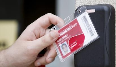 Crimson card at card scanner